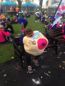 Nap time and still at least 2 hours from the finish line. MORE PAIN. Shine Marathon, London, September 2014