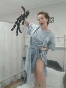 Got to have a silly photo in my hospital gown! Port Surgery October, 2014