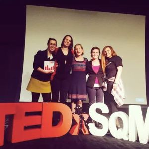 At TedxSquareMile. Saturday 8th November, 2014. With my support crew - Gemma, Sarah, Viv and Z #amazinghumans